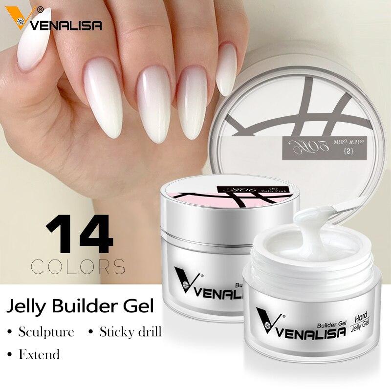 50 мл твердый Желейный гель для наращивания ногтей французский гель для ногтей Сделай Сам Venalisa полигель для ногтей прозрачный натуральный ц...