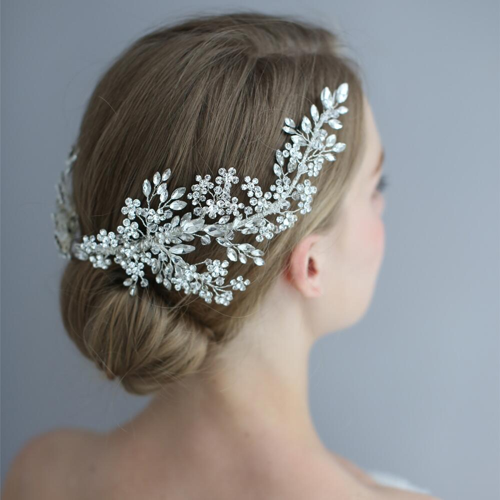 TRiXY H253-S Gorgeous Crystal Bridal Headpiece Flower Wedding Hair Vine Clip Party Prom Hair Jewelry Bridal Hair Accessories