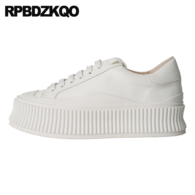 Thick Sole Luxury Black Shallow China Elevator Designer Women Lace Up White Creepers Platform Shoes Flats 2019 Round Toe Muffin