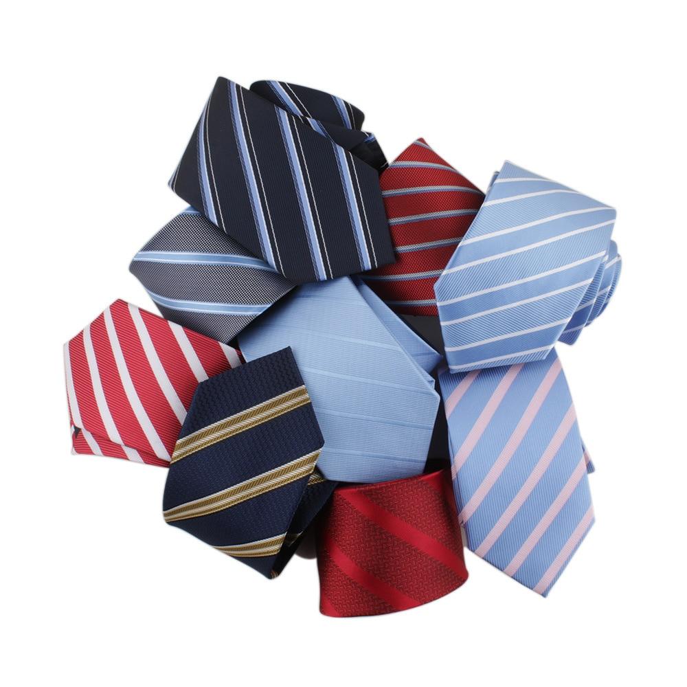 Sitonjwly 7cm Men Necktie Polyester Striped Jacquard Formal Skinny Bridegroom Party Dress Wedding Necktie Custom LOGO