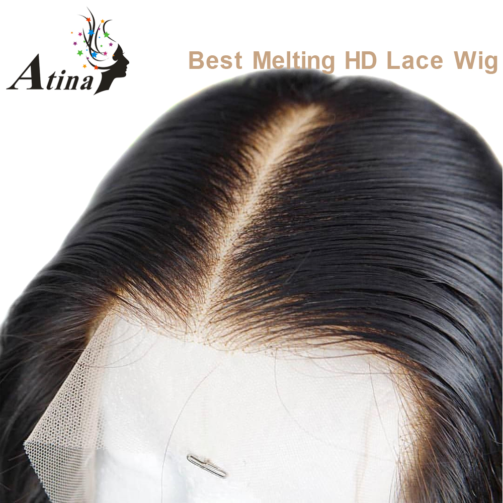 13X6 Hd Lace Front Human Hair Wig PrePlucked Remy Straight Invisible Transparent Lace Wigs For Women Atina Undetectable Glueless