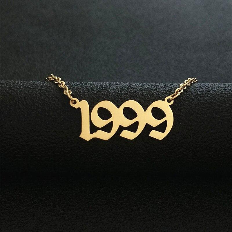 Золотое колье с цифрой от 1987 до 2001, подвеска на день рождения, ожерелье на заказ, ювелирное изделие, Старое Английское колье, 1998, 1999, 2000, колье ...