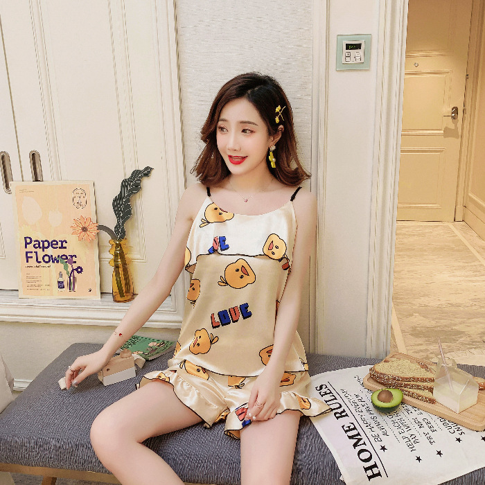 Pajamas Women's Summer Korean-style Viscose Camisole Set Cool And Refreshing-Imitated Silk Fabric Thin Home Wear [without Chest