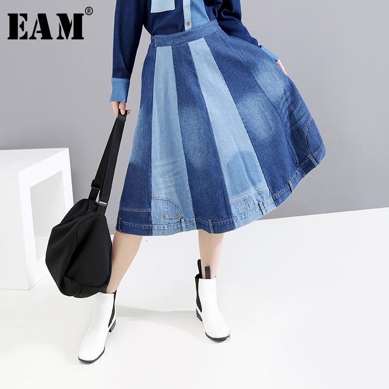 [EAM] High Elastic Waist Blue Contrast Color Split Joint Denim Half-body Skirt Women Fashion Tide New Spring Autumn 2020 1D512