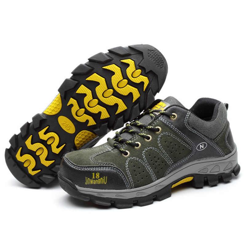 Mannen Winter Laarzen Bont Veiligheid Laarzen Schoenen Punctie Proof Anti-Slip Onverwoestbaar Schoenen Heren Winter Schoeisel Leer Man Laarzen