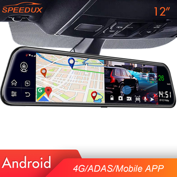 цена на 4G Car DVR Dash Cam GPS WiFi 12 inch New For Auto Android 8.1 Rearview Mirror Recorder Car Mirror HD Video  Registrator FM