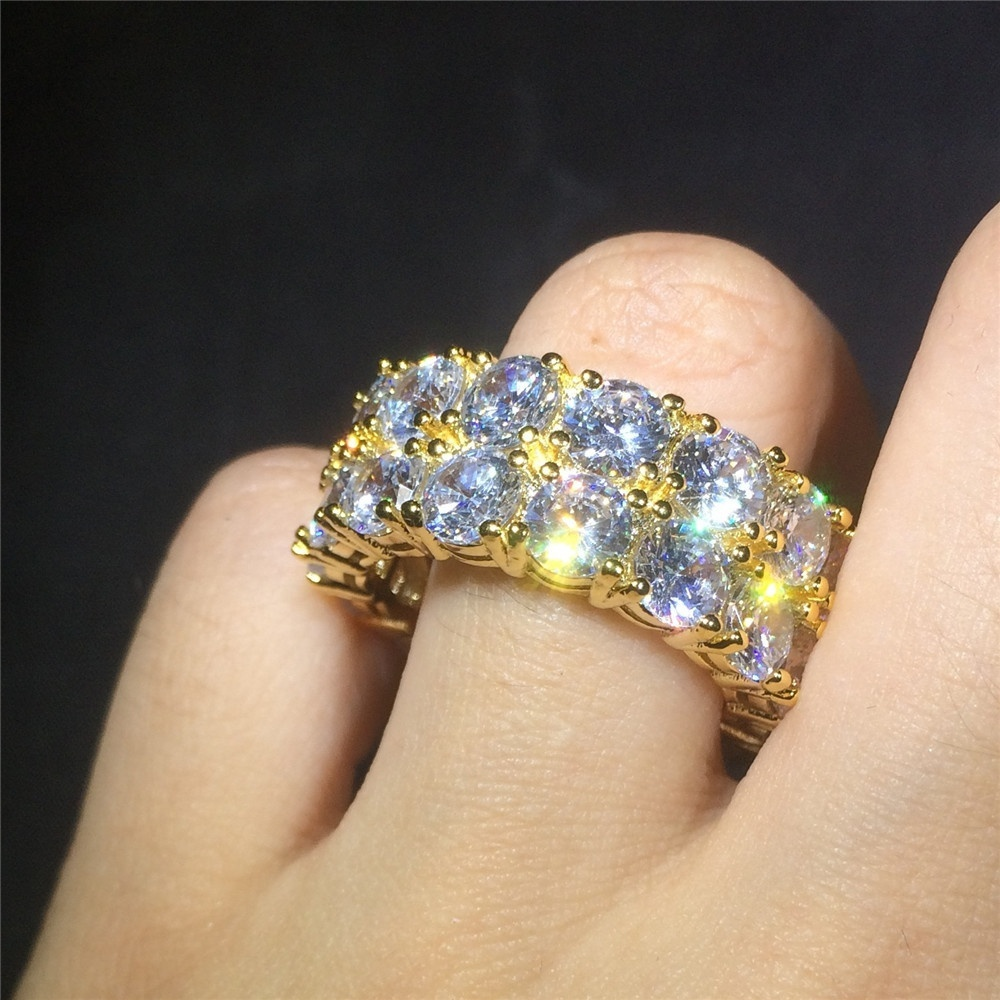 Qiji Punk Alloy Pyramid Ring Blingbling Rhinestone Hip Hop Rapper Ring Jewelry for Costume Party Three Finger Size