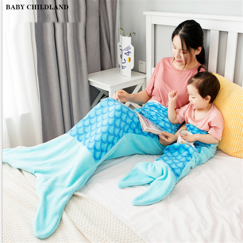 Mermaid Tail Blanket Super Soft Fleece Baby Blankets Kids Adult Mermaid Sleeping Bag Children Sleeping Sack Sofa Throw Blanket
