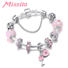 MISSITA Love Heart Series Pink Love Lock Bracelet with Daisy Flower Charms Brand Bangle for Women Jewelry Anniversary Gift цена