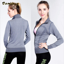 T-Shirt Seamless Training-Suit Yoga-Clothing Fitness Sports Zipper Gym Women Outdoor