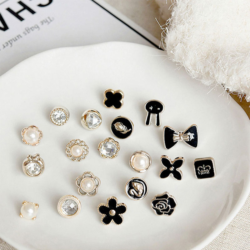 10pcs <font><b>Button</b></font> Brooch Set Imitation Pearl Rhinestones <font><b>Pin</b></font> Coat Clothes Accessories Gift Prevent Exposure Brooches for Women A35 image