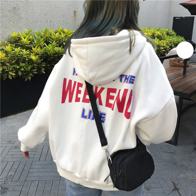 Sweatshirt Female Women Hoodies Letter Printed Loose Hooded Trendy Pockets Plus Velvet Korean Style Harajuku All-match Chic Top