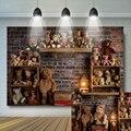 Детские 1st на день рождения задник с игрушкой медведь кирпичная стена портрет, многоярусная юбка фон для фотосъемки с изображением теплая с...
