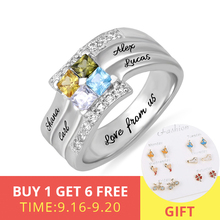 XiaoJing 925 Sterling Silver Personalized Square CZ Rings Engraved Family Name&Birthstone Ring Custom Special Gift free shipping xiaojing 925 sterling silver personalized family tree ring with birthstone women fashion ring mother s day gift free shipping
