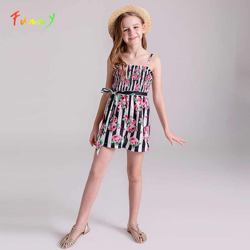 Striped and Floral Print Cute Kids Jumpsuit for Girls Strap Holiday Belted Tank Romper 2019 Summer Straight Leg Short Jumpsuits