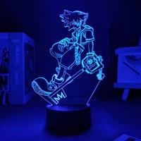Lampada 3D gioco Kingdom Hearts Sora Keyblade Lights Led per lampada decorativa gioco da tavolo Kingdom Room Decor Manga Lamp