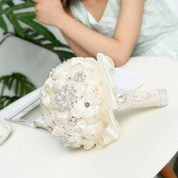 Elegant Custom Ivory Wedding Bouquets Stunning Pearls Beaded Crystal Brooch Stitch Bridal Bridesmaid Flowers