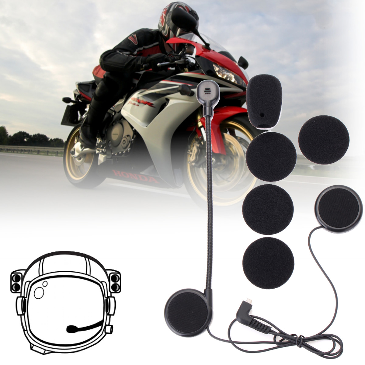 ABS Plastic Microphone Speaker Soft Cable Headset Accessory For Freedconn Motorcycle Helmet Bluetooth Interphone Intercom