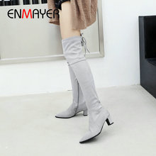 ENMAYER 2019 Over The Knee Boots Basic Pointed Toe Slip-On Faux Suede Slim Boots Square Heel Winter Thigh High Boots Size 34-43