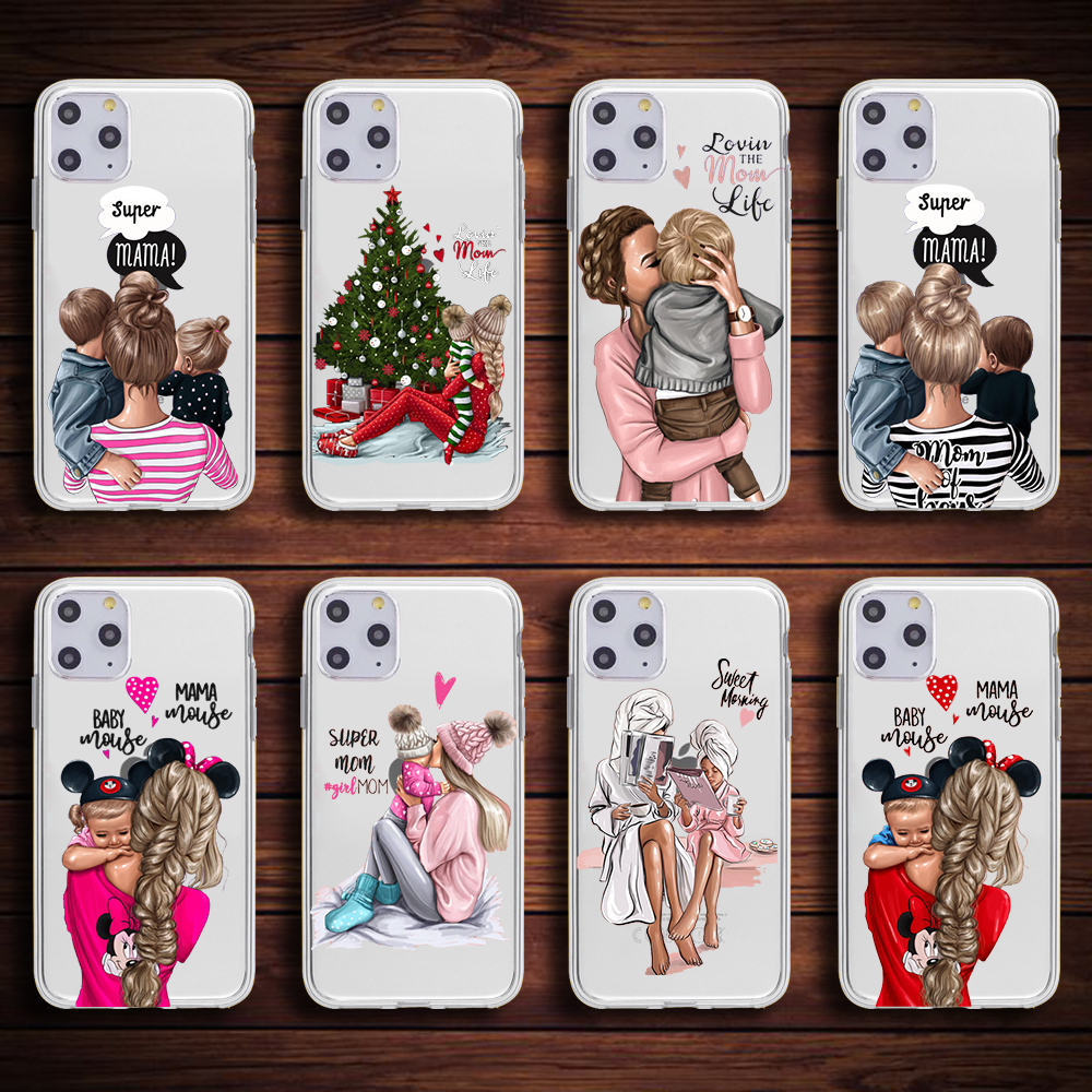 Fashion mama of <font><b>girl</b></font> boy Super mom baby cute phone Case <font><b>For</b></font> <font><b>iPhone</b></font> XR 7 <font><b>6</b></font> 6s 8 Plus 5S SE X XS MAX Soft TPU Silicone Phone <font><b>Cover</b></font> image