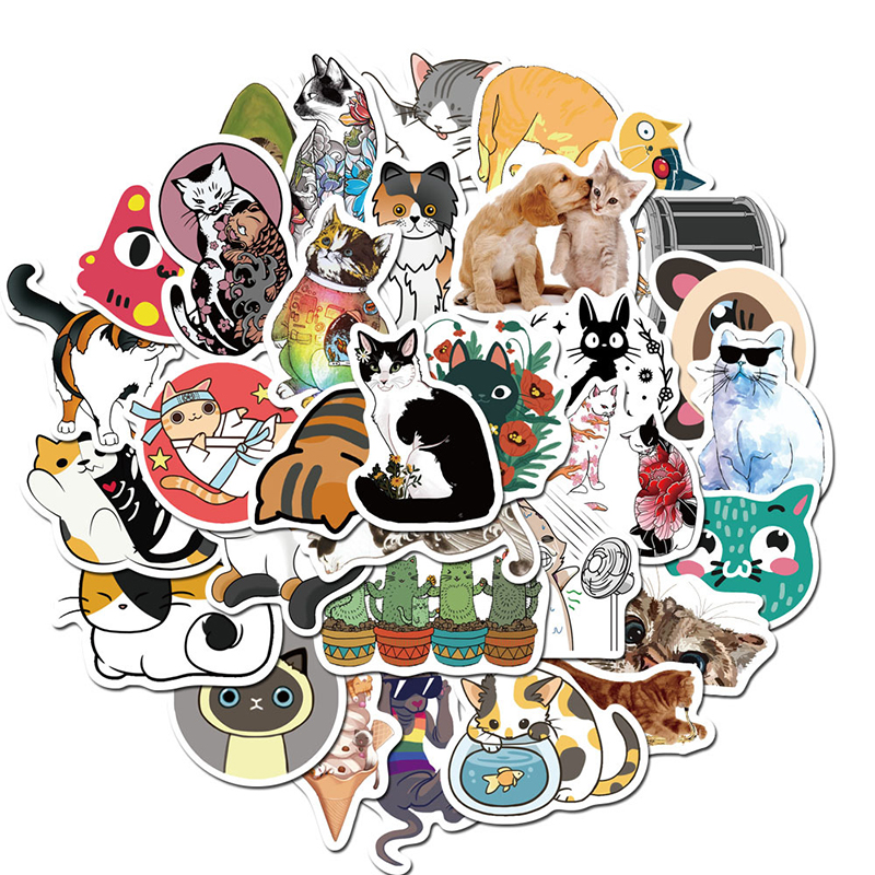 50 Pieces Cute Watercolor Animal Sticker Colorful Cat Waterproof Refrigerator Decoration Mixed Decals For MacBook Laptop Sticker