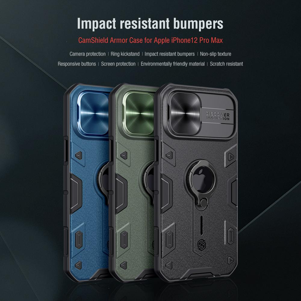 iPhone 12 Pro Max Case for iPhone 12 Mini Case with Ring stand Case Camera Protection Slide cover 5
