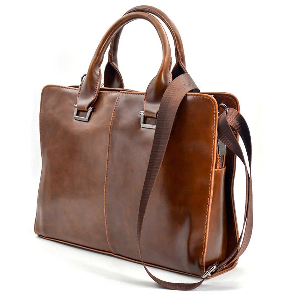 Men's Briefcase High Quality Business PU Leather Bag Adjustable Strap Shoulder Diagonal Cross Briefcase Office Laptop Handbag