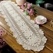 Vintage hecho a mano Crochet Lace Hollow comedor camino de mesa chino nostálgico retro de algodón tejido calado tabla bandera decoración del hogar