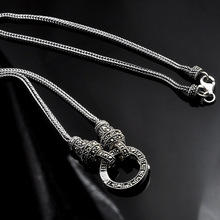 Real Silver Long Chain Retro Necklace Women S925 Sterling Silver Marcasite Stone Pendant Necklace Thai Silver Necklace Jewelry