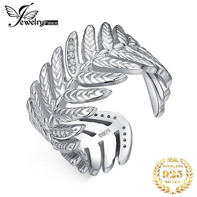 JewelryPalace 포장 큐빅 지르코니아 선조 잎 조정 가능한 열기 반지 925 스털링 실버 여성을위한 새로운 트렌디 한 반지 파인 쥬얼리