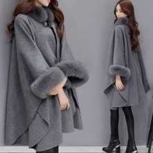 Winter Coat Ponchos Capes Women 2019 Christmas Fashion Flare Sleeve Faux Fur Collar Wool
