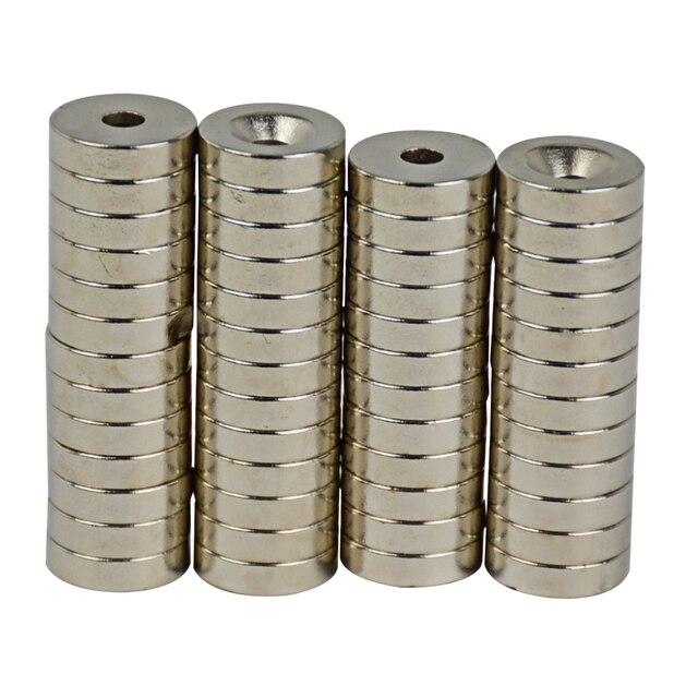 YIMAKER disque magnétique rond en néodyme   15mm x 4mm, trou 4.2mm, Super puissant, terre Rare, petits aimants NdFeB, Dia forte, 50 pièces