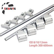2pcs Optical Axis Linear Rail Shaft OD8/10/12mm 300-600mm+4pcs SCS8/10/12UU Linear Bearing Blocks+4pcs SK8/10/12 Bearing Support cnbtr 5pcs 500mm 12mm perpendicular optical axis shaft support slide bushing