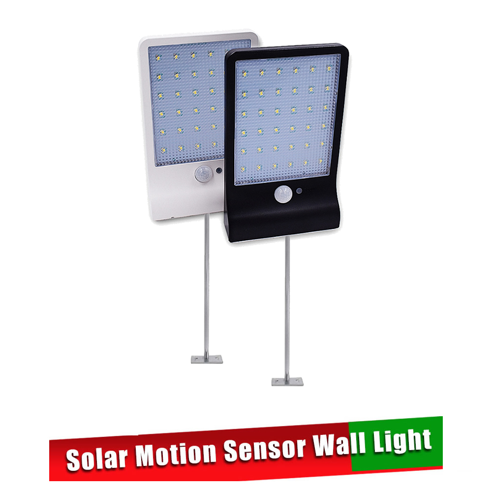 Metal Poles QLTEG 48 LED 450LM Solar Lamp Human Body Induction Wall Light 3 Modes Dimmable Outdoor Garden Yard Path Lamp With Re