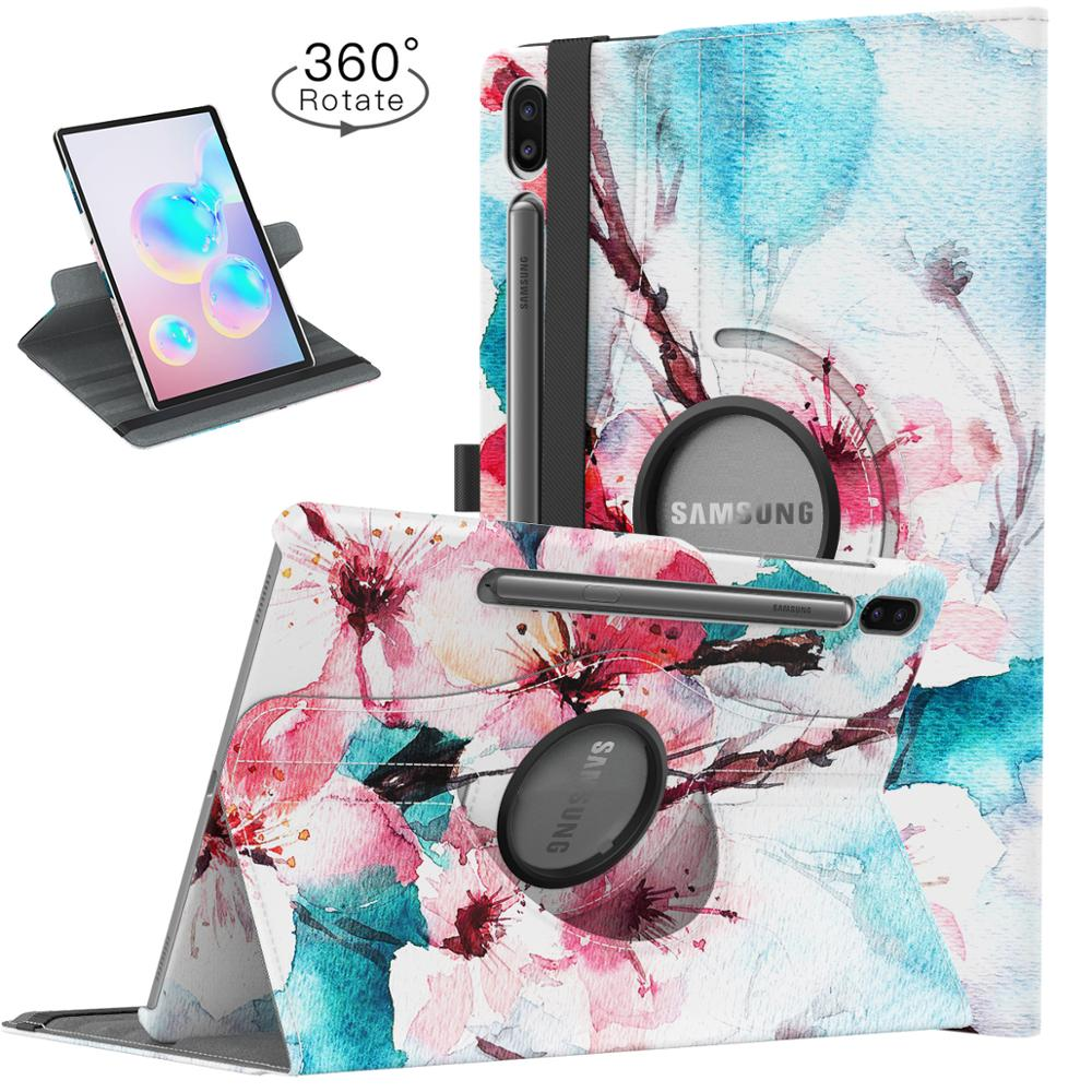 Case For Samsung Galaxy Tab S6 10.5 2019,360 Degree Rotating Multi-Angle Viewing Smart Leather Swivel Case For Galaxy Tab S6