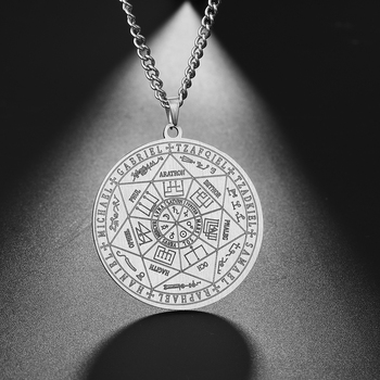 Dawapara 7 archanges sigle colliers breloques pour hommes archanges sigle colliers Pentacle amulette magique Protection Talisman
