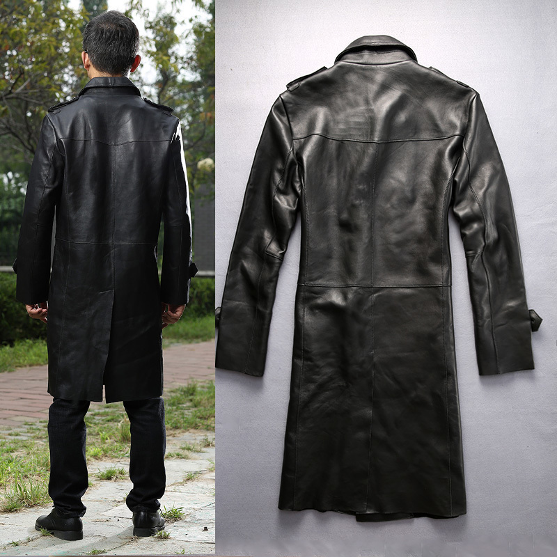 Men's fashion long sheepskin wide waisted autumn leather trench double breasted business style winter coat men new