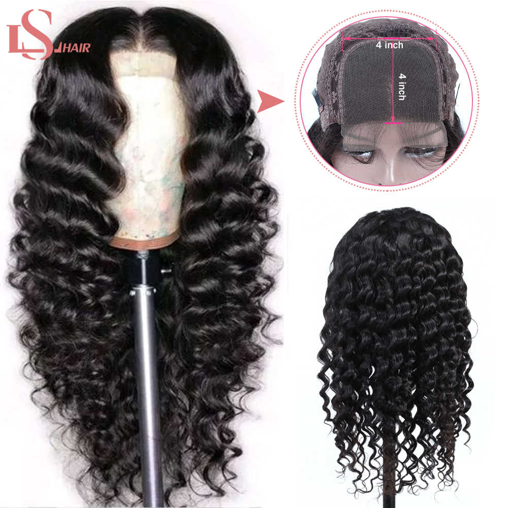 Loose Deep Wave Lace Closure Wig Human Hair Wigs For Black Women Brazilian Lace Wigs 150 Density Remy LS Hair Wig
