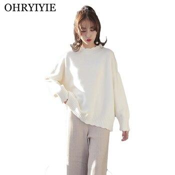 OHRYIYIE Half Turtleneck Pullovers Women 2019 Autumn Winter Loose Long Sleeve Knit Sweater Ladies Fashion Jumper Tops Pull Femme