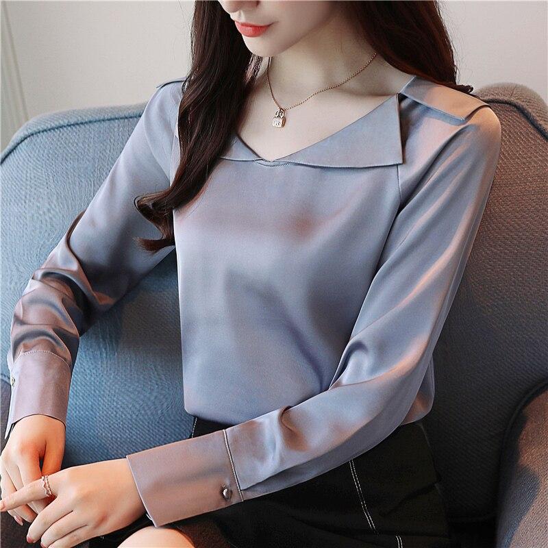 Korean Fashion Women Silk Shirt Elegant Women V Neck Blouses Shirts Plus Size Blusas Mujer De Moda Women Satin OL Shirts Blouses