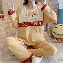 Хлопковые пижамы для женщин одежда сна с рисунками из мультфильмов
