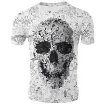 2021 New Summer Men's T-Shirt Casual Round Neck Short-Sleeved T-Shirt Devil Skull Fashion Trendy Brand Skull 3D T-Shirt Male