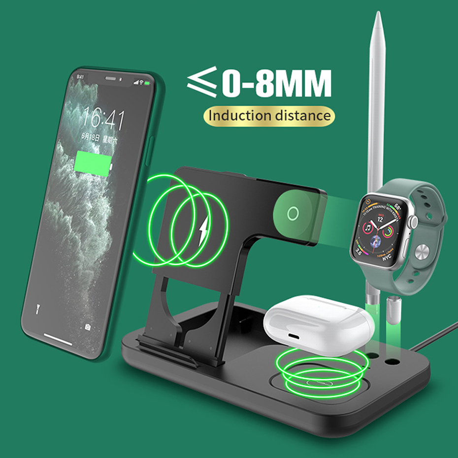 AIXXCO 15W Qi Fast Wireless Charger Stand For iPhone 11 Apple Watch 4 in 1 Foldable Charging Dock Station for Airpods Pro iWatch 6
