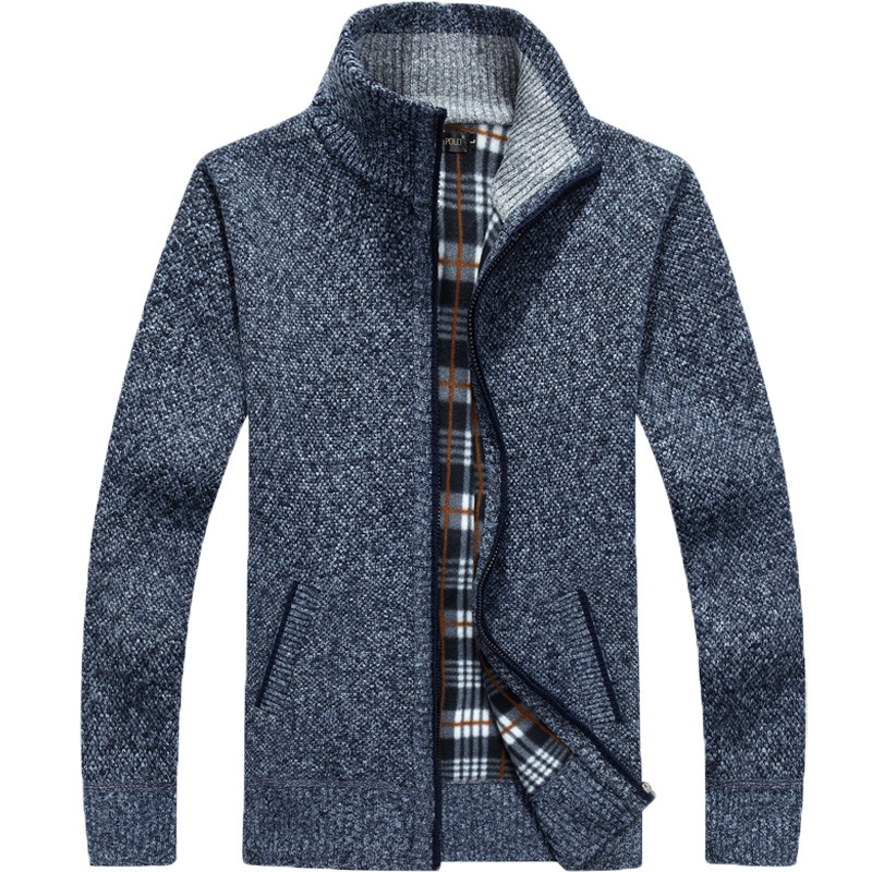 2020 Autumn Winter Thick Men Knitted Sweater Coat Long Sleeve Cardigan Fleece Male Causal Plus Size Clothing кардиган мужской