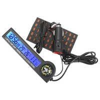 Termómetro con brújula, reloj multifunción, Calendario para estacionamiento temporal de coche, Tarjeta 5 en 1, probador de voltaje, pantalla LCD