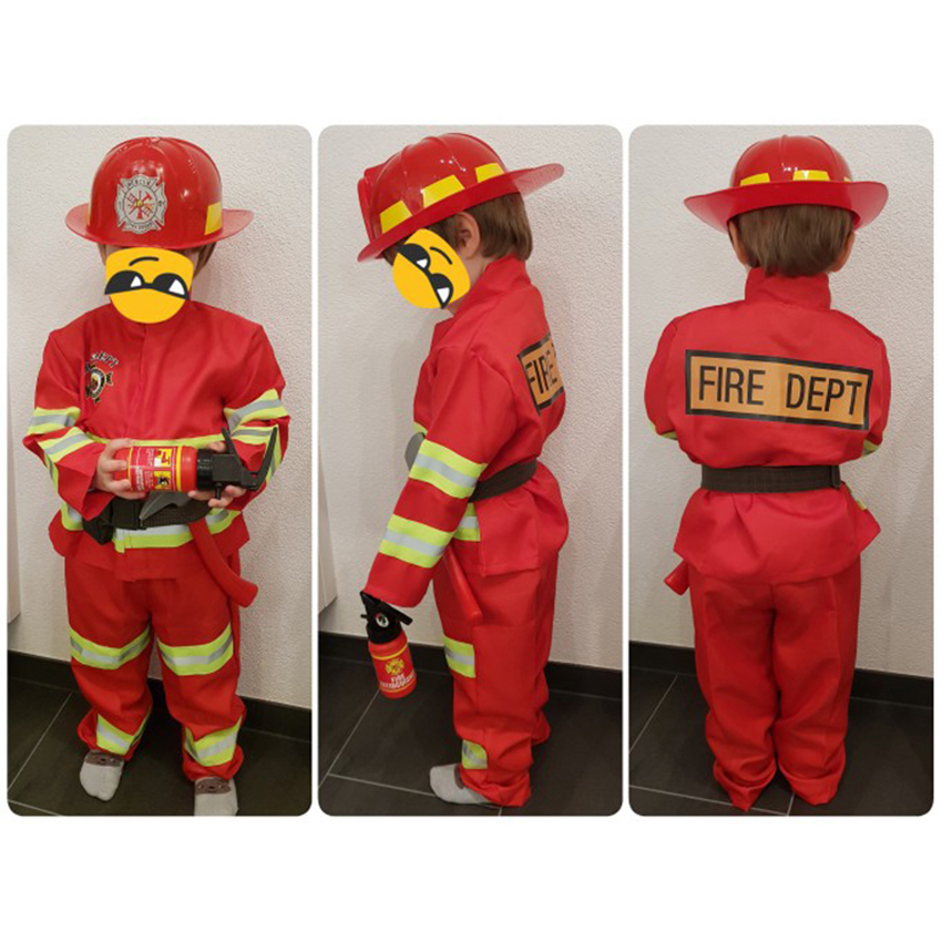 Fireman Sam Cosplay Carnival Halloween Costume For Kids Boy Girl Party Work Wear Uniform Accessories Christmas Firefighter