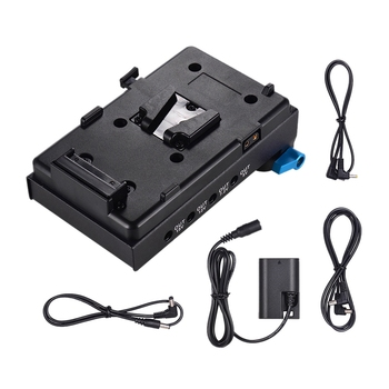 V Mount V-Lock Battery Plate Adapter with 15Mm Dual Hole Rod Clamp LP-E6 Dummy Battery Adapter for BMCC BMPCC Canon 5D2/5D3/5D4/