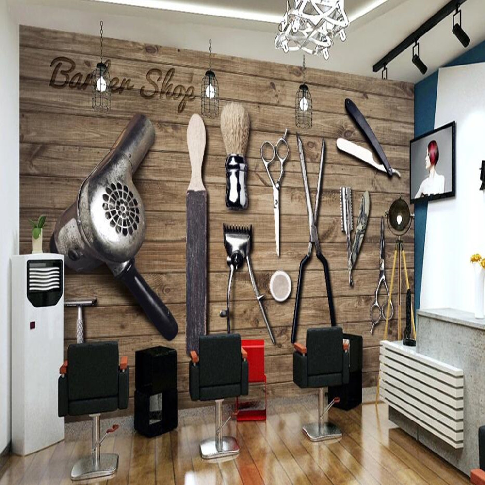 Milofi Manufacturers Custom 3D Retro Wood Barber Shop Tools Background Wallpaper Murals