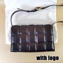 Moda famosa marca de malha real genuíno couro corrente tecido bolsas e bolsas de luxo tecido ombro mensageiro crossbody