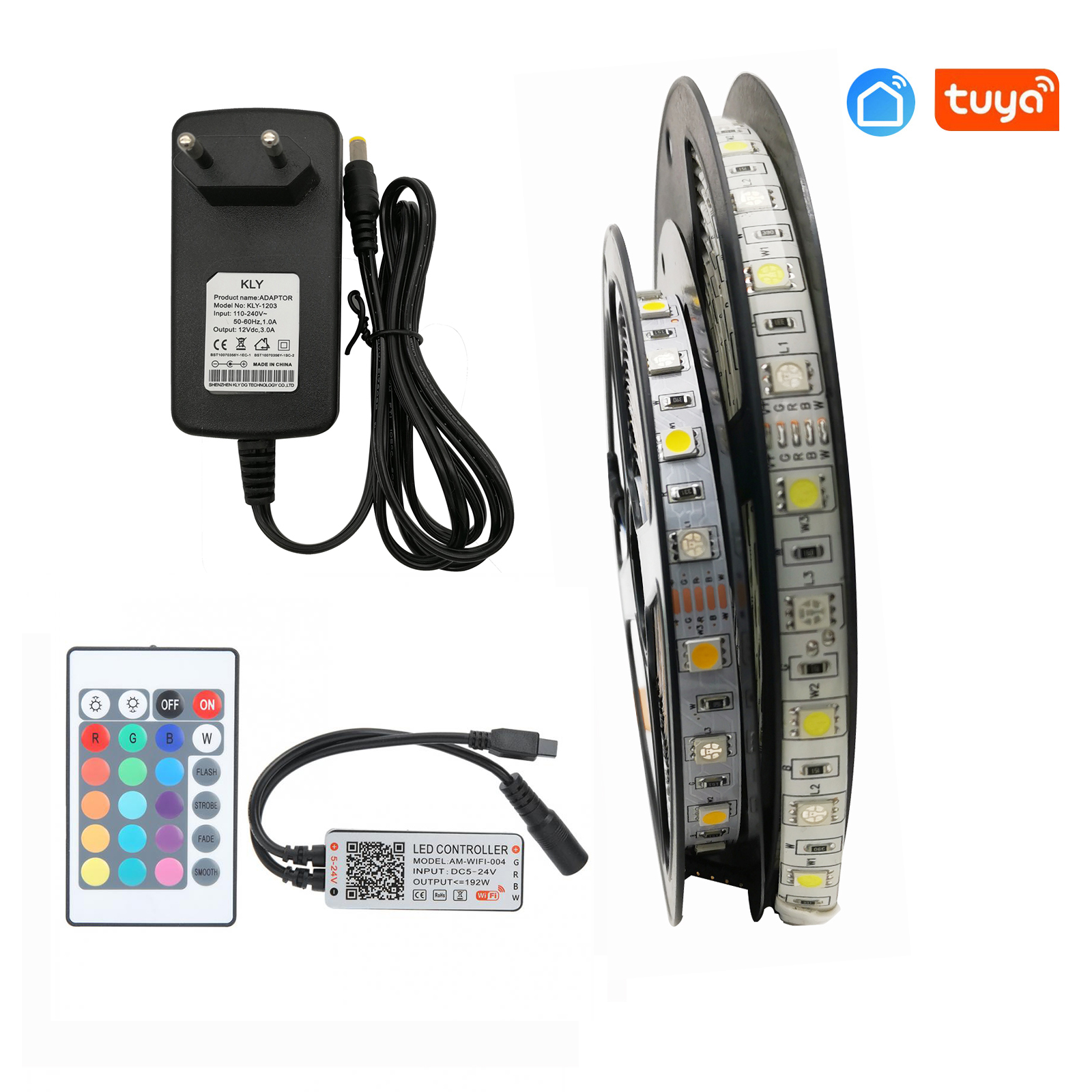 5050 LED Strip  RGBW / RGBWW 5M 300LEDs Flexible LED Light + Tuya Wifi Controller + 12v 3a Power Adapter